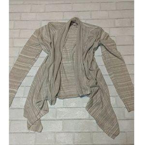 Ann Taylor Loft Striped Ivory Open Cardigan Size M